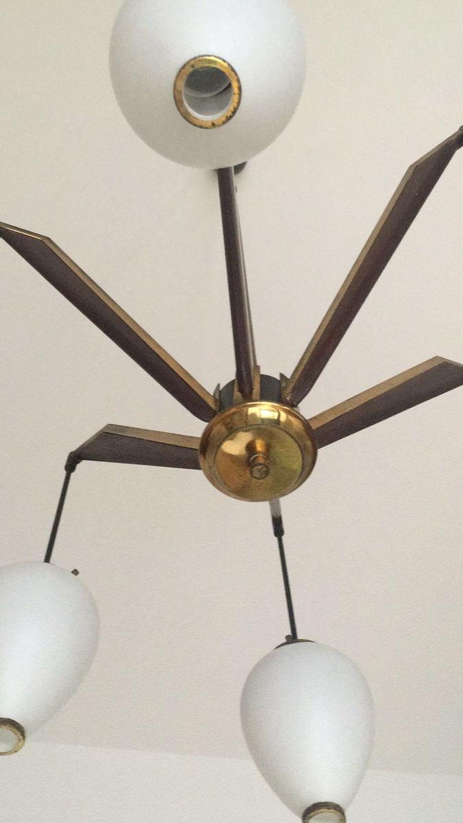 Italian vintage brass opaline glass chandalier from for Arredo luce