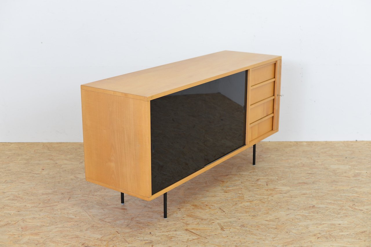 birkenholz sideboard mit glast ren 1960er bei pamono kaufen. Black Bedroom Furniture Sets. Home Design Ideas