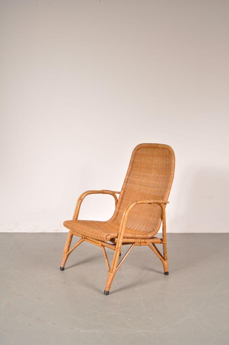 korbgelfecht sessel mit hoher r ckenlehne von dirk van sliedregt f r gebroeders jonkers bei. Black Bedroom Furniture Sets. Home Design Ideas