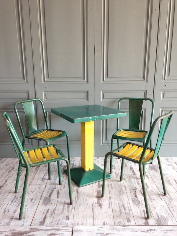 xavier pauchard french industrial dining room furniture. Industrial Green Dining Set By Xavier Pauchard For Tolix, 1950s French Room Furniture S