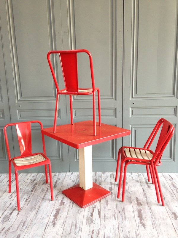 xavier pauchard french industrial dining room furniture. Industrial Red \u0026 White Dining Set By Xavier Pauchard For Tolix, 1950s French Room Furniture R