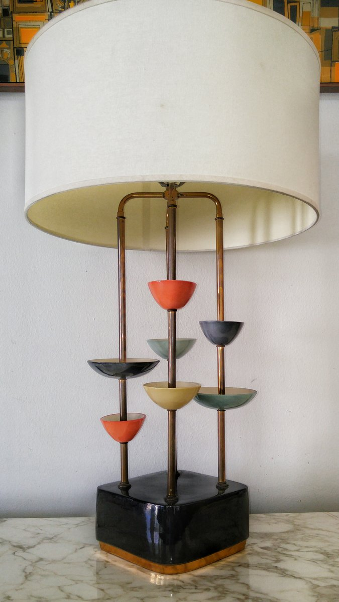 modernistische keramik messing lampe bei pamono kaufen. Black Bedroom Furniture Sets. Home Design Ideas