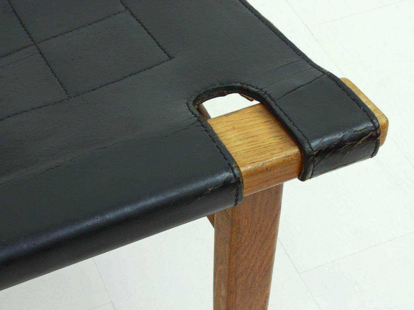 d nischer ottomane aus teakholz leder 1960er bei pamono. Black Bedroom Furniture Sets. Home Design Ideas