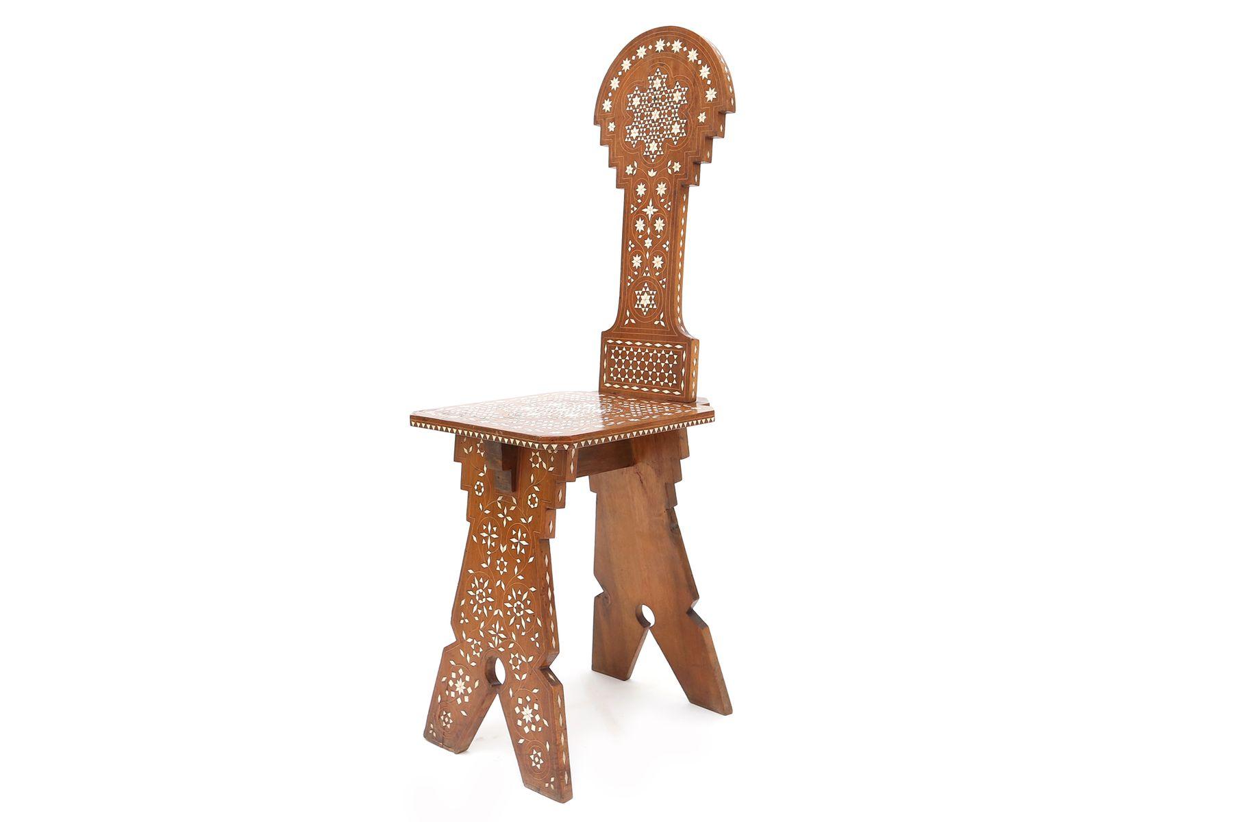 antiker schreibtisch stuhl im orientalischen stil 1880er bei pamono kaufen. Black Bedroom Furniture Sets. Home Design Ideas