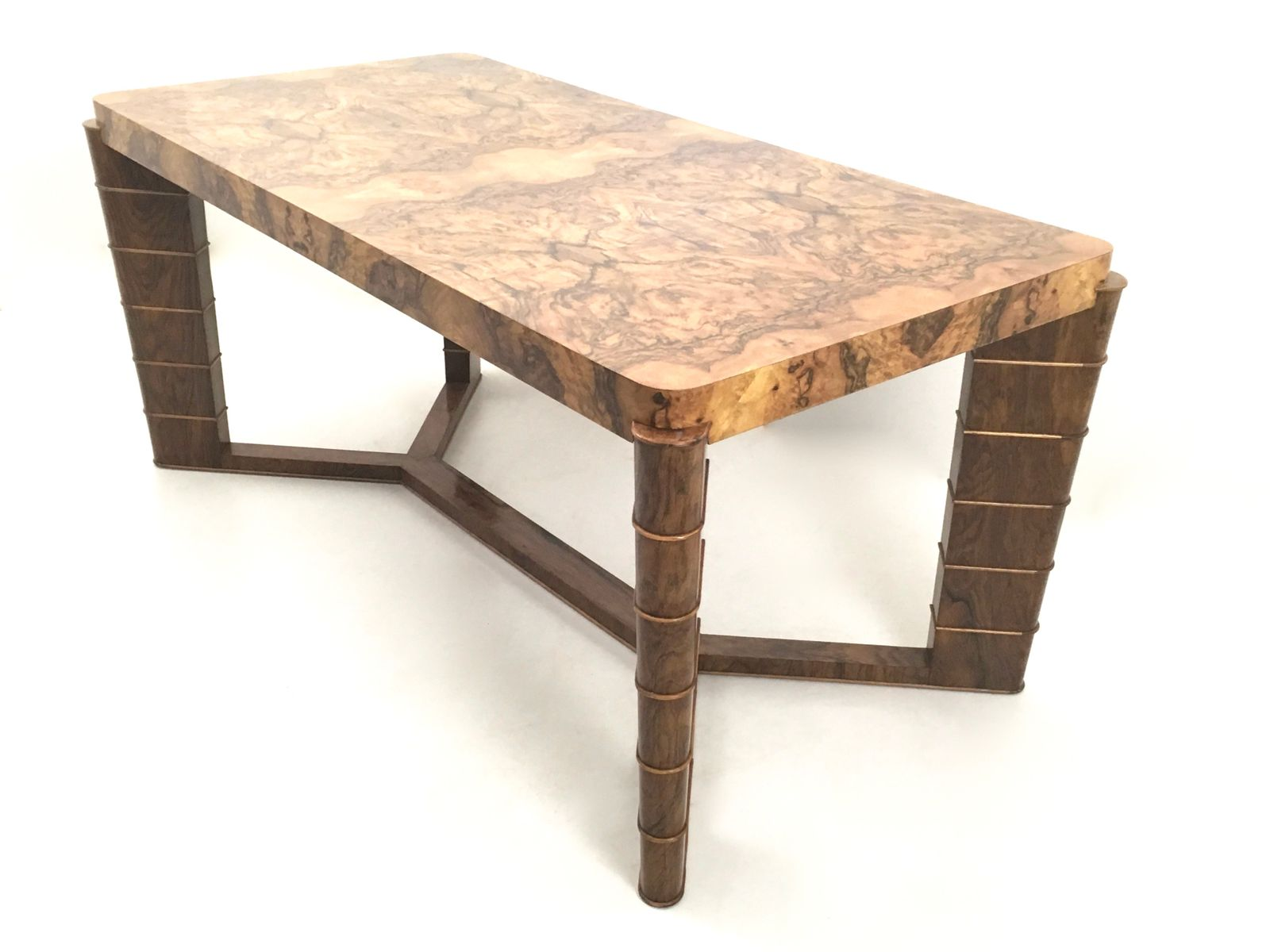 Vintage Walnut & Briar Root Dining Table 1940s for sale at Pamono