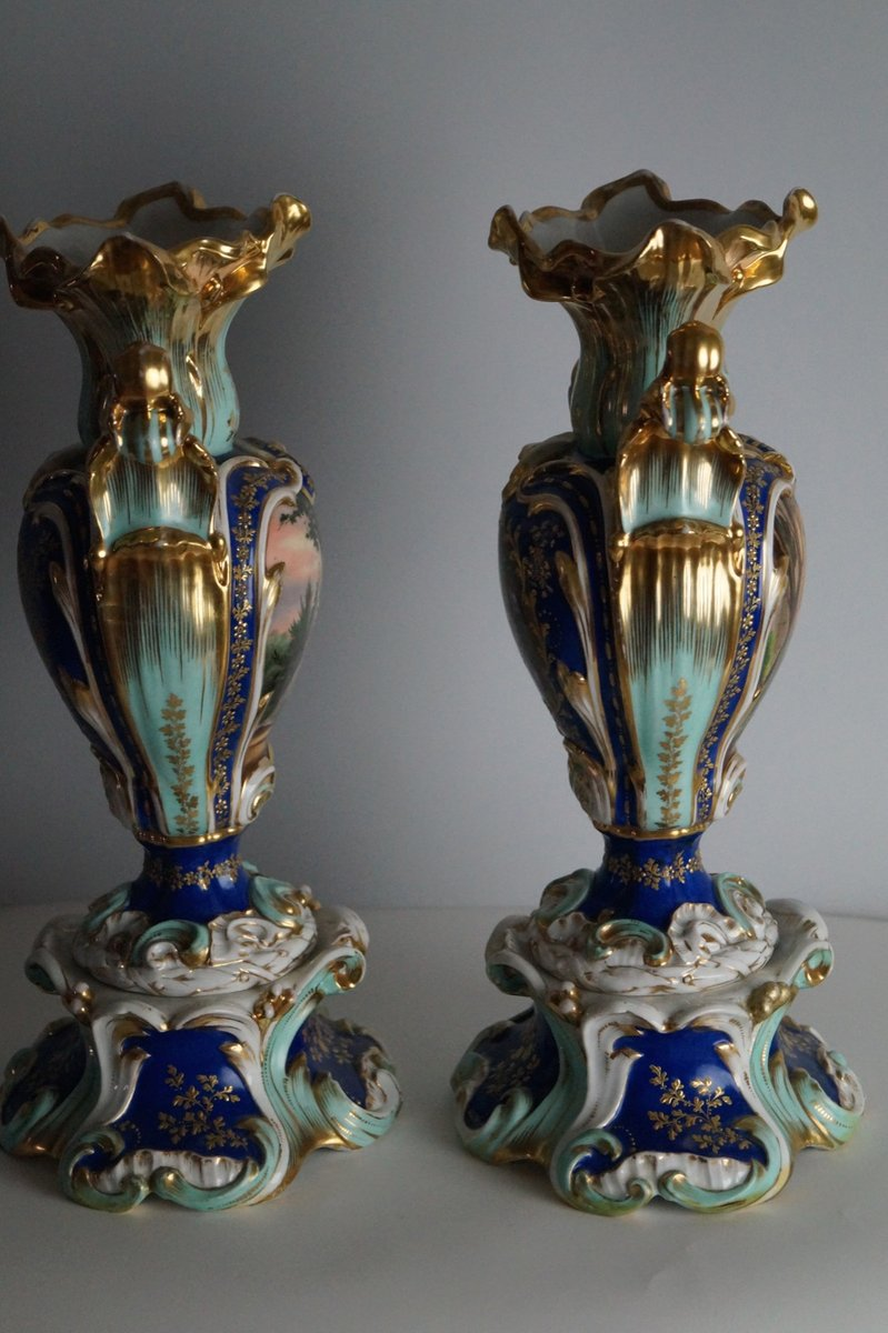 antike handbemalte vasen 1850er 2er set bei pamono kaufen. Black Bedroom Furniture Sets. Home Design Ideas