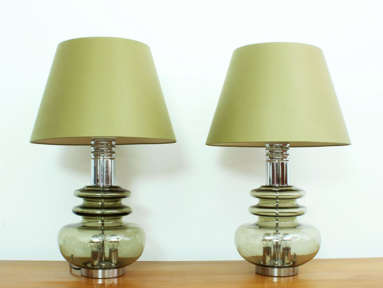 German glass chrome table lamps from doria leuchten 1960s set of german glass chrome table lamps from doria leuchten 1960s set of 2 aloadofball Gallery