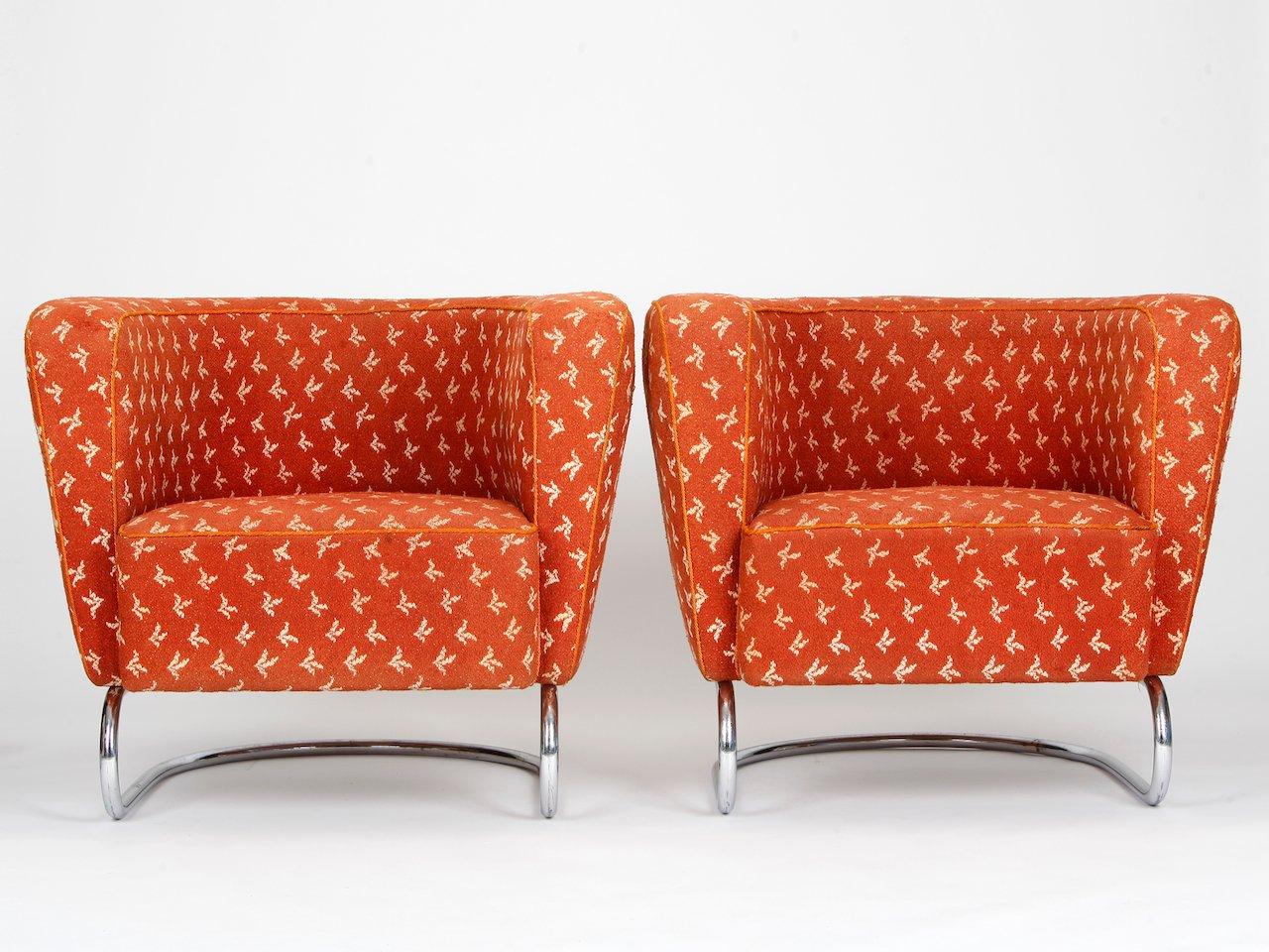 tschechische armlehnensessel aus rotem stoff und stahlrohr 1930 2er set bei pamono kaufen. Black Bedroom Furniture Sets. Home Design Ideas