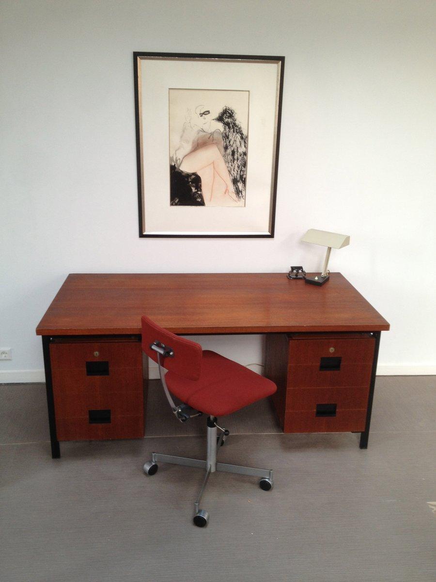 niederl ndischer schreibtisch aus teakholz metall von cees braakman f r pastoe 1960er bei. Black Bedroom Furniture Sets. Home Design Ideas