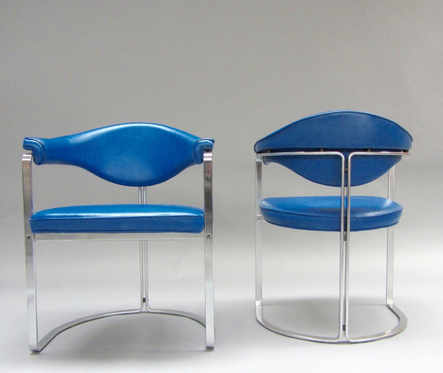 blaue lederst hle von horst br ning f r kill international 2er set bei pamono kaufen. Black Bedroom Furniture Sets. Home Design Ideas