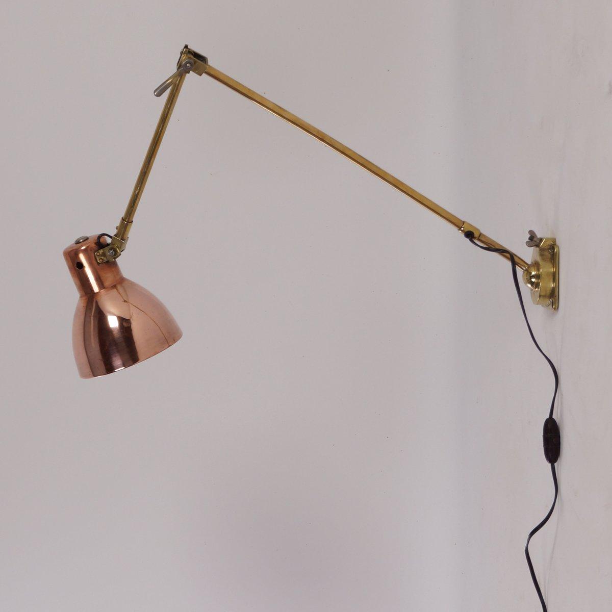 bauhaus kupfer messing wandlampe von kandem 1930er bei pamono kaufen. Black Bedroom Furniture Sets. Home Design Ideas