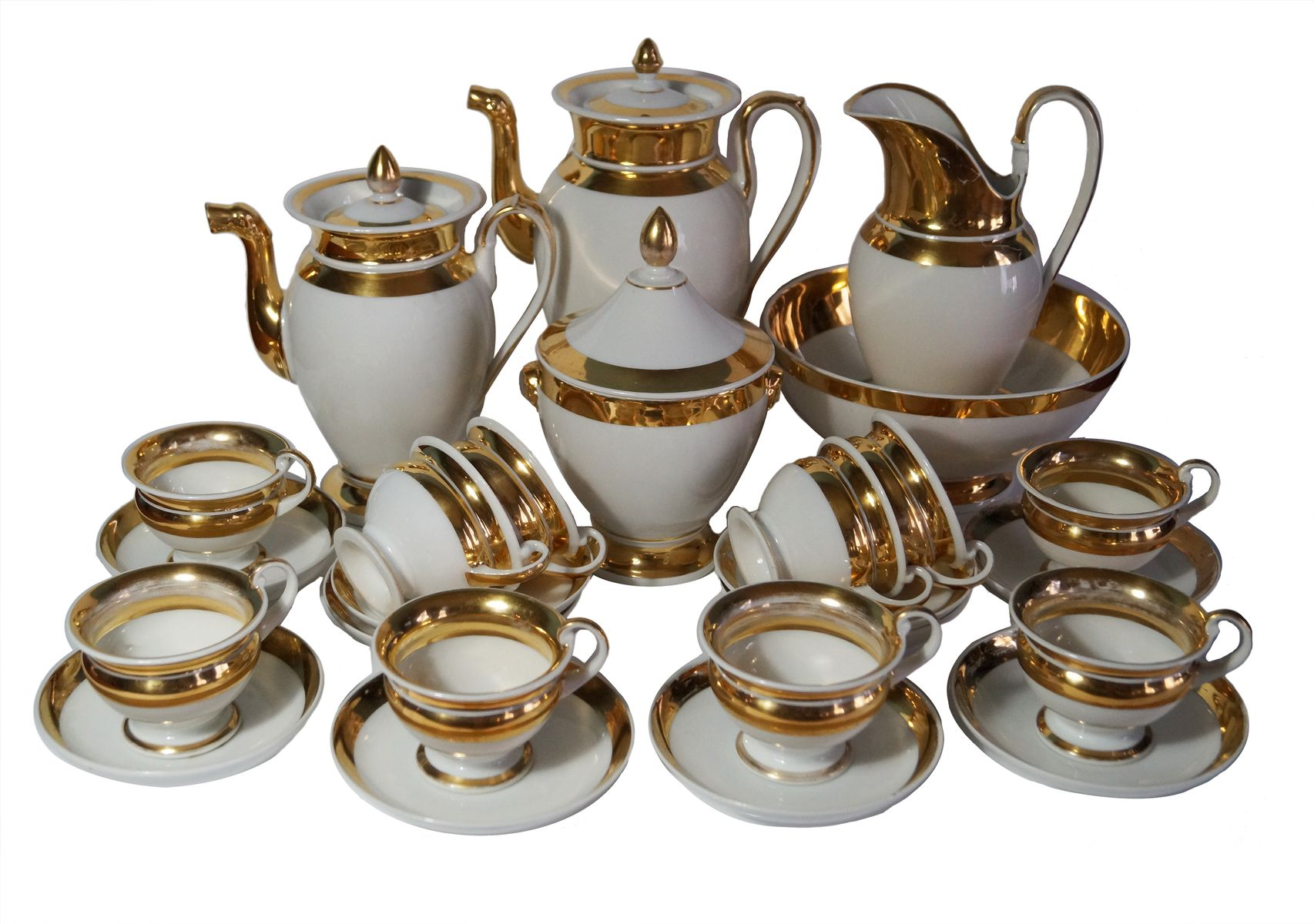 Old Paris Empire Period Gilt Coffee And Tea Service