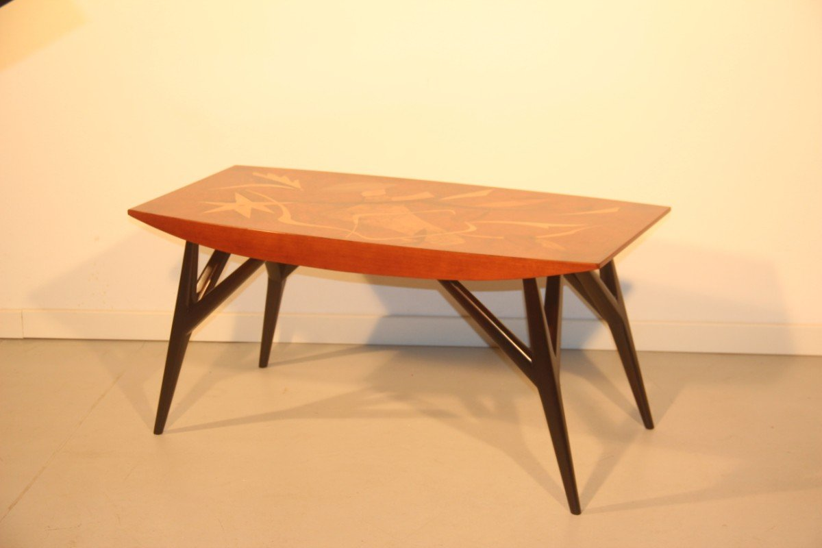 Italian Coffee Table With Wooden Inlays By Luigi Scremin, 1950