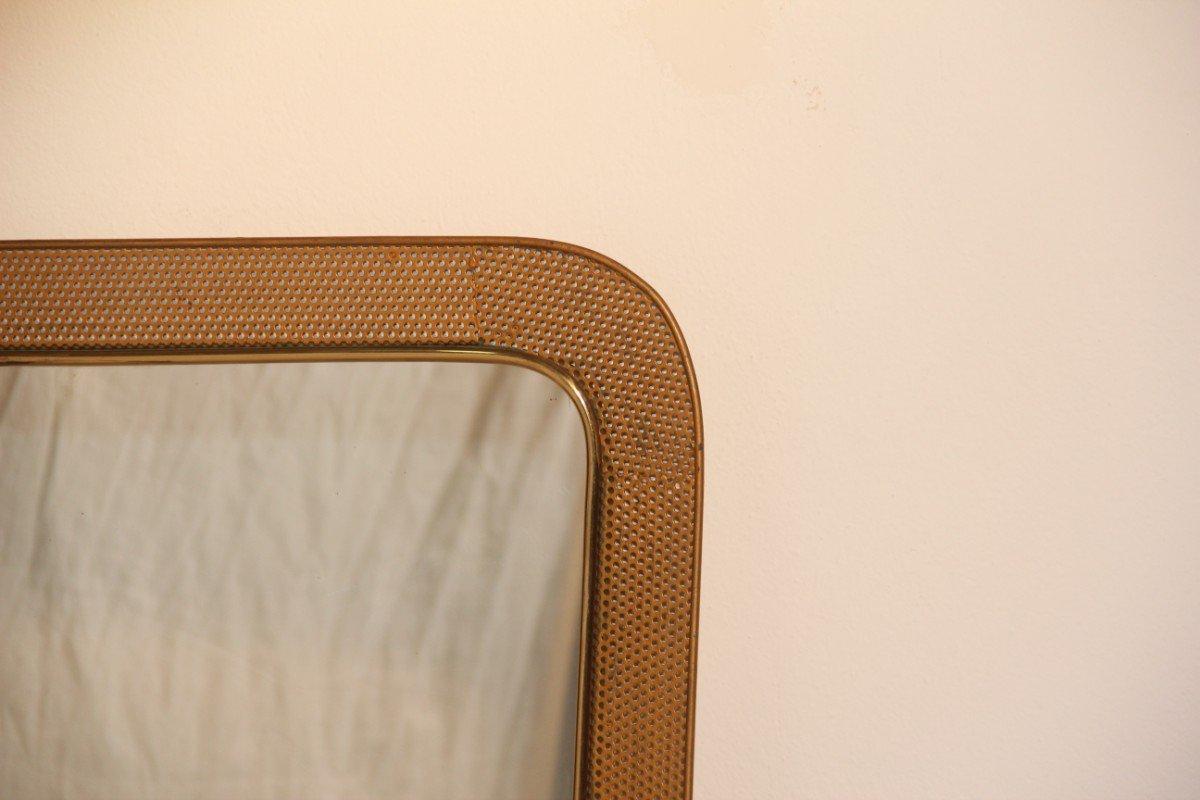 franz sischer spiegel mit perforiertem metallrahmen 1950. Black Bedroom Furniture Sets. Home Design Ideas