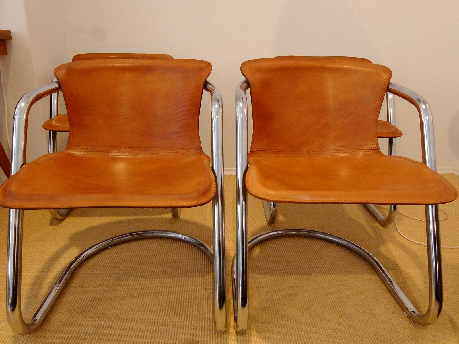 Italian brown leather dining chairs by willy rizzo 1970s for Leather dining room chairs on sale