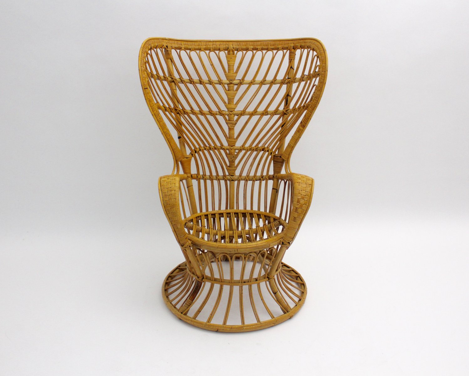 Awesome Wicker Peacock Chair #11 - Italian Rattan Peacock Chair By Lio Carminati