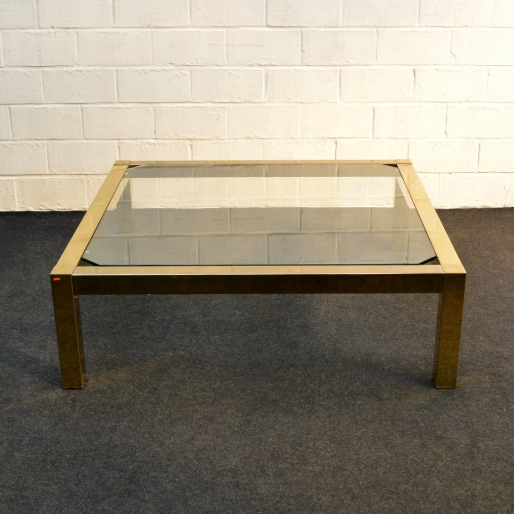 Madox Modern Classic Antique Gold Leaf Glass Coffee Table: Vintage Gold Leaf Coffee Table From Belgochrom For Sale At