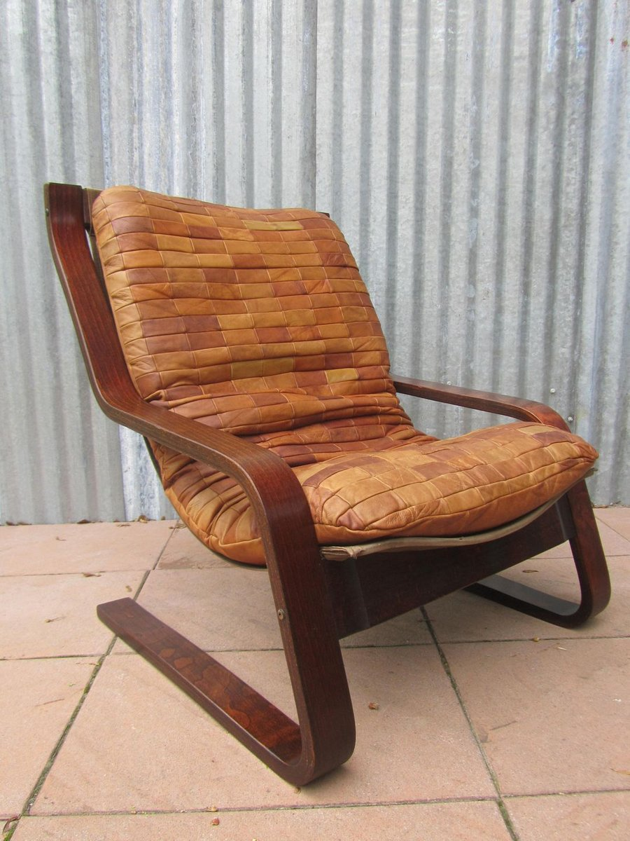 Danish Patchwork Leather And Bentwood Cantilever Easy