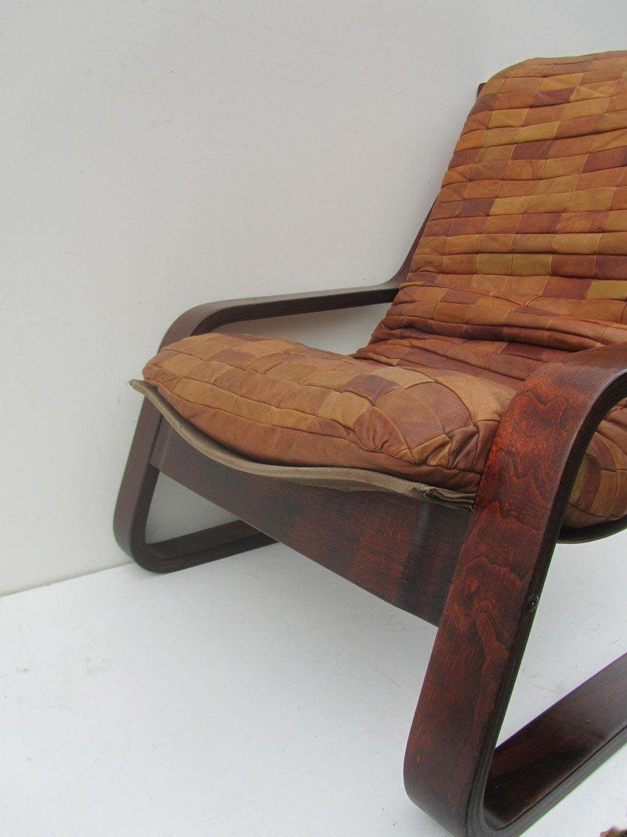 d nischer freischwinger sessel aus patchwork leder bugholz 1970er bei pamono kaufen. Black Bedroom Furniture Sets. Home Design Ideas