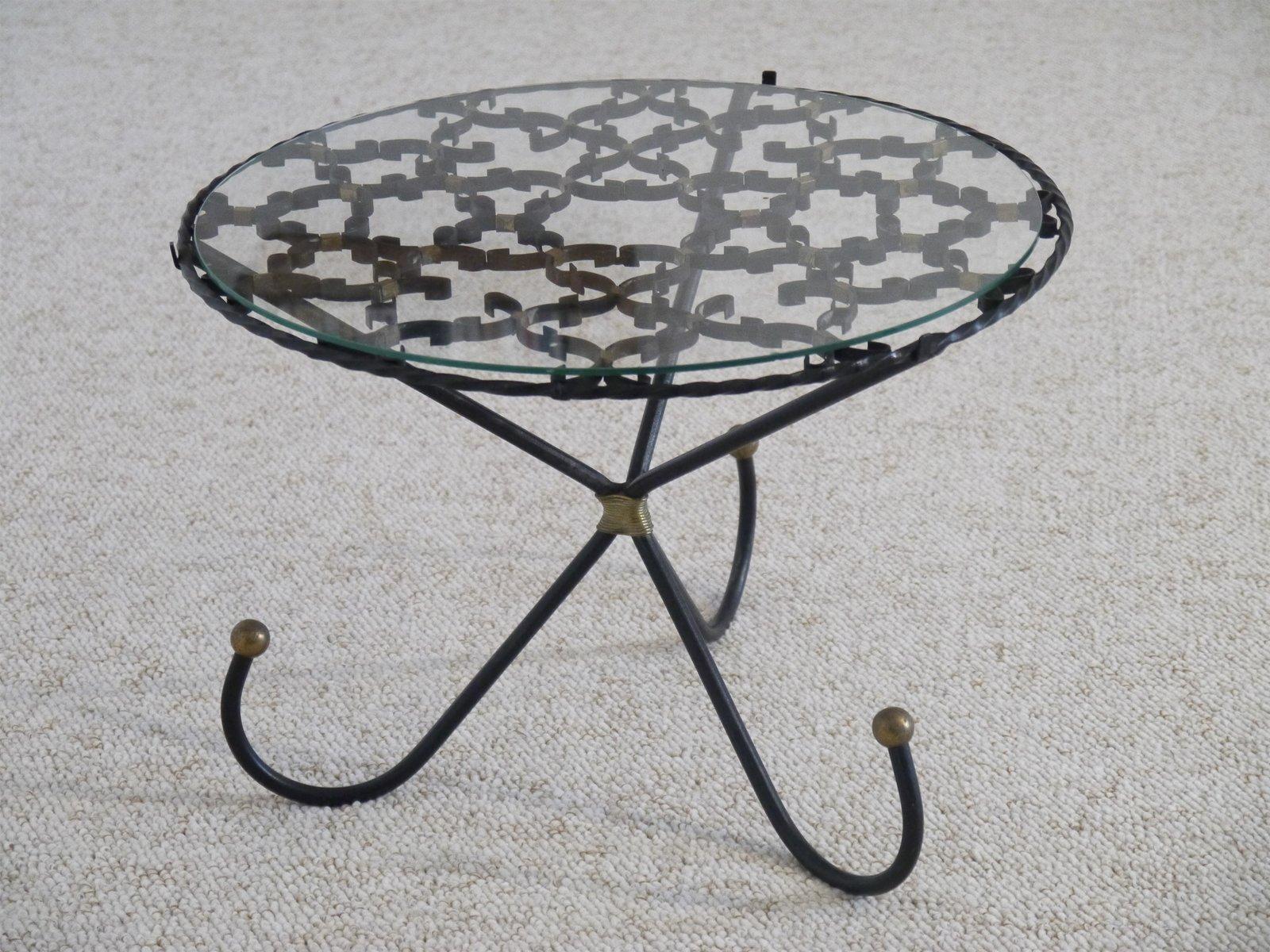 franz sischer beistelltisch aus metall messing 1950er. Black Bedroom Furniture Sets. Home Design Ideas