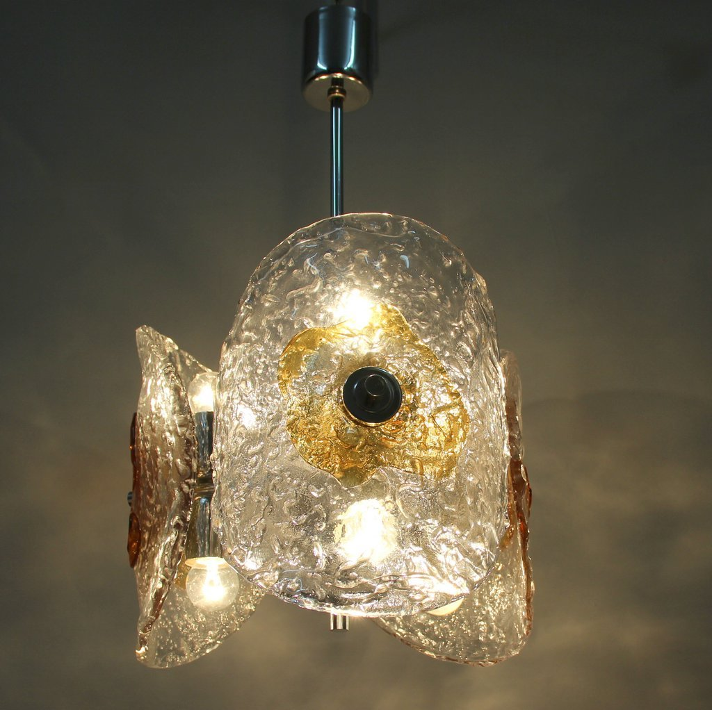 Vintage Murano Glass Chromed Metal Pendant Lamp 9 69800 Price Per Piece