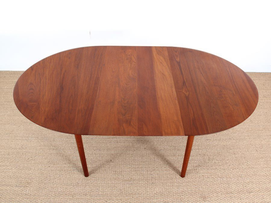 Danish Mid Century Modern Model 311 Solid Teak Dining Table By Peter Hidt U0026  Olrla Mølgaard Nielsen For Søborg Mobelfabrik, 1956
