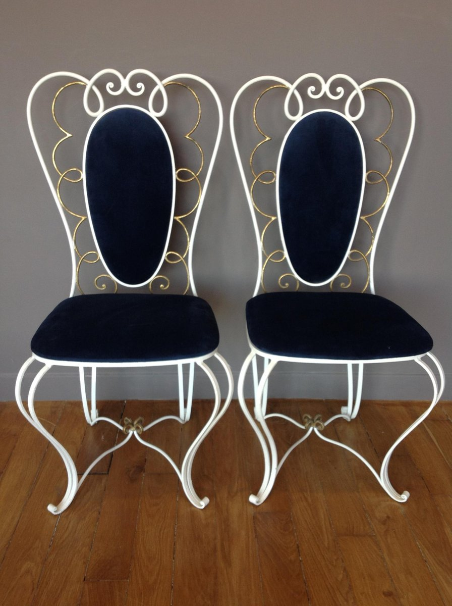 High Quality Vintage Wrought Iron Chair, 1950s, Set Of 2 For Sale At Pamono