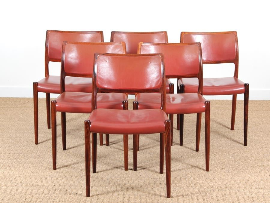 Mid-Century Danish Rosewood Dining Chairs by Niels Møller, 1968, Set ...