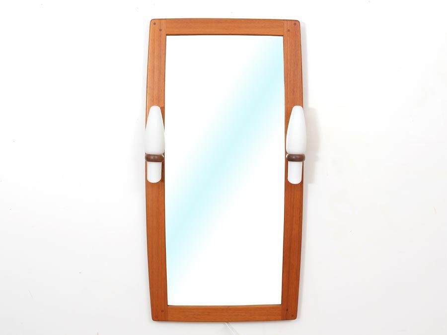 mid century modern spiegel mit teakholz rahmen opalglas lampen von ab nybrofabriken fr seke. Black Bedroom Furniture Sets. Home Design Ideas