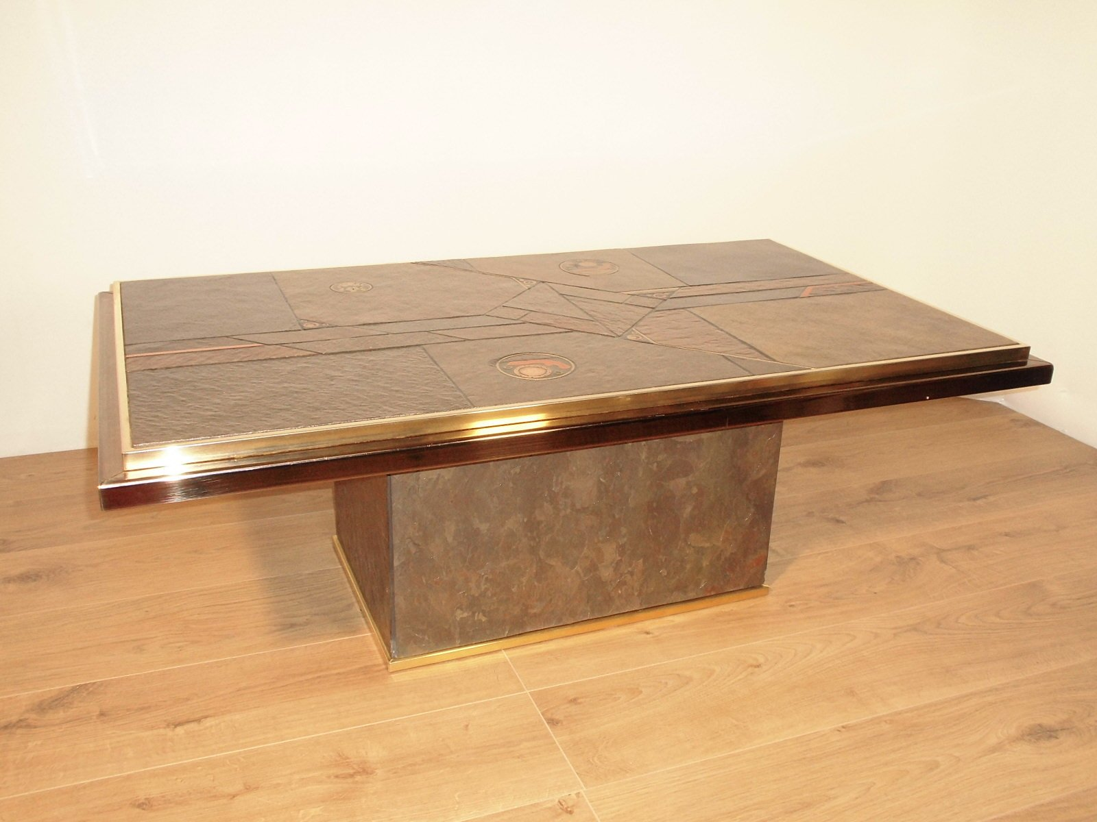 couchtisch aus stein und bronze von paul kingma 1970 bei. Black Bedroom Furniture Sets. Home Design Ideas