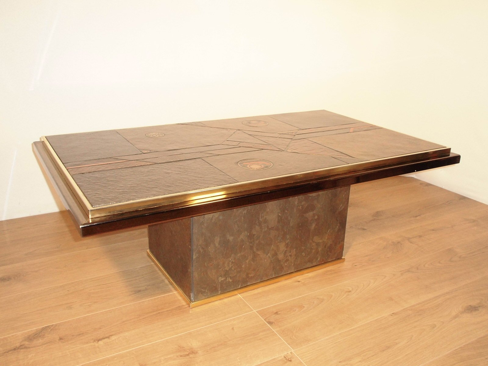 table basse en pierre et en bronze par paul kingma 1970 en vente sur pamono. Black Bedroom Furniture Sets. Home Design Ideas