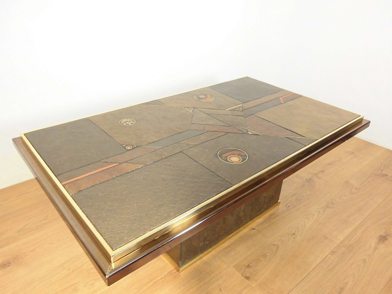 table basse en pierre et en bronze par paul kingma 1970. Black Bedroom Furniture Sets. Home Design Ideas