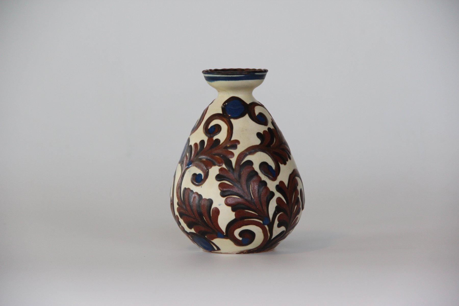 vintage blue brown glazed vase from k hler for sale at pamono. Black Bedroom Furniture Sets. Home Design Ideas