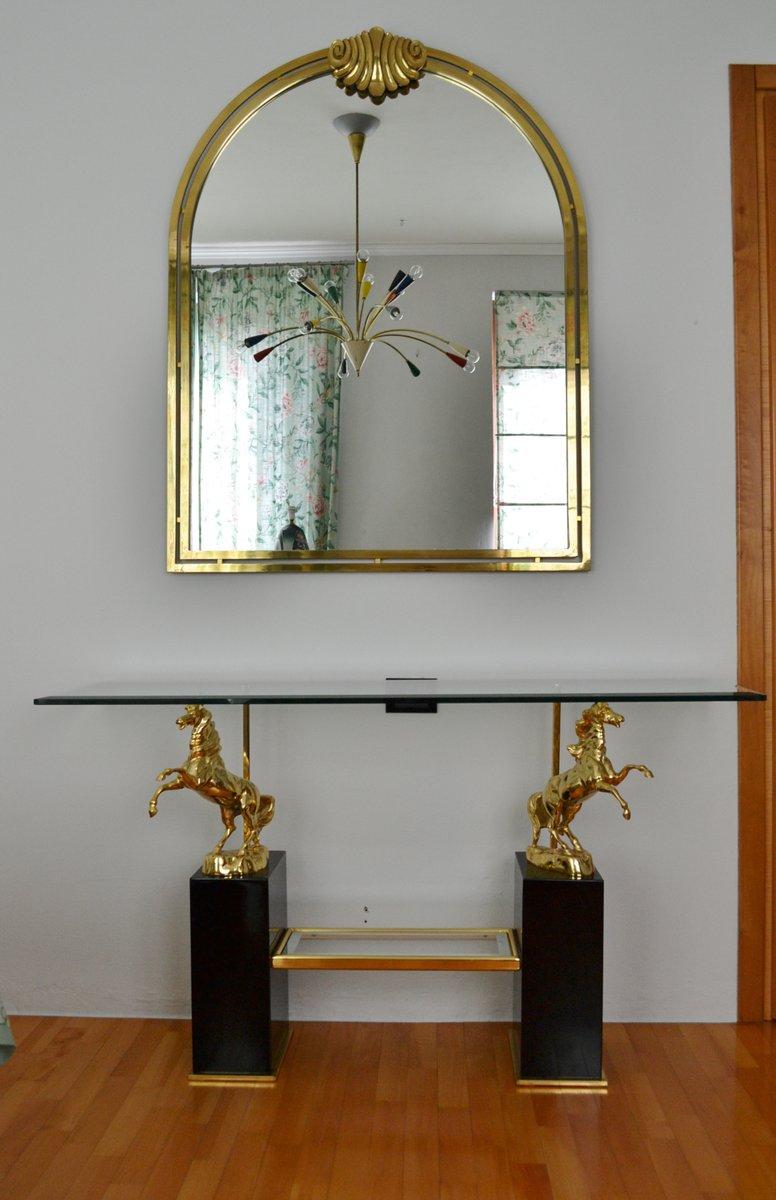 italienischer konsolentisch aus kristallglas mit messing. Black Bedroom Furniture Sets. Home Design Ideas