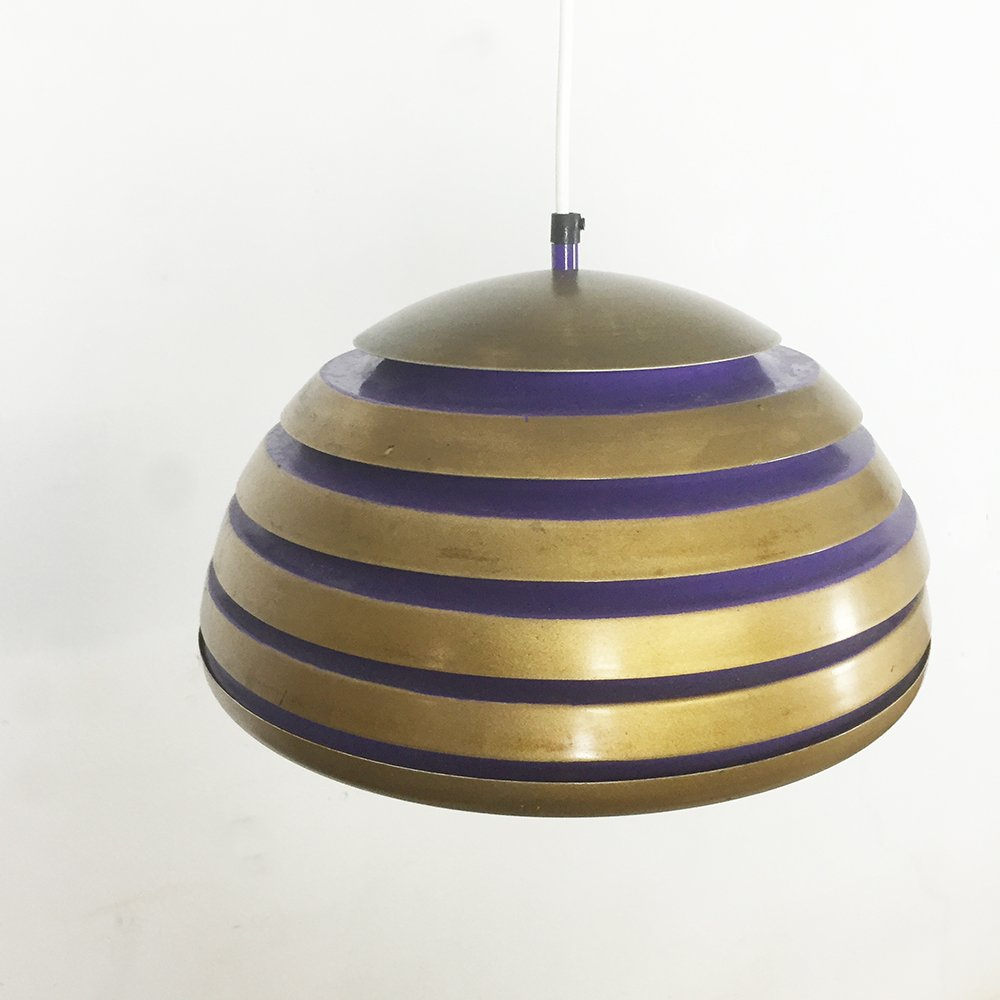 skandinavische h ngelampe aus kupfer lila metall 1960er bei pamono kaufen. Black Bedroom Furniture Sets. Home Design Ideas