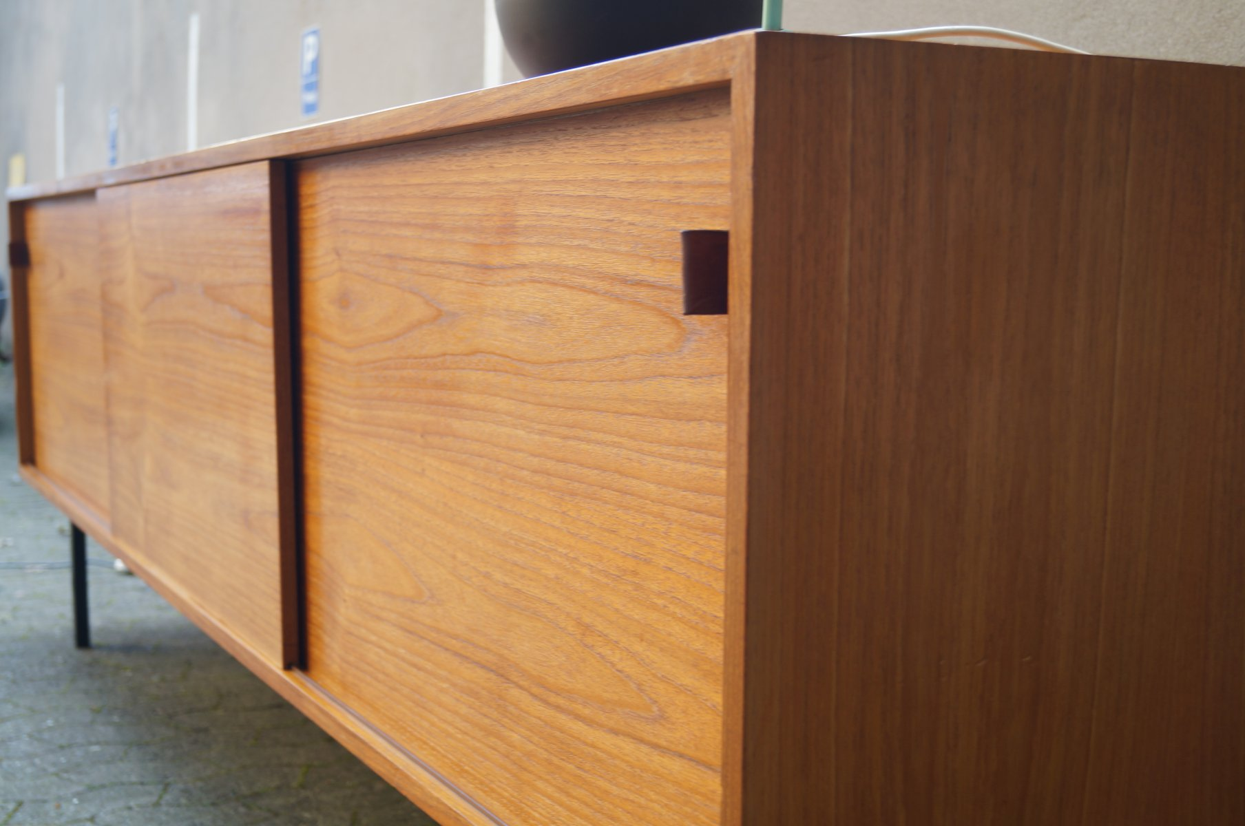 Minimalist Sideboard with Sliding Doors and Leather Handles from ...