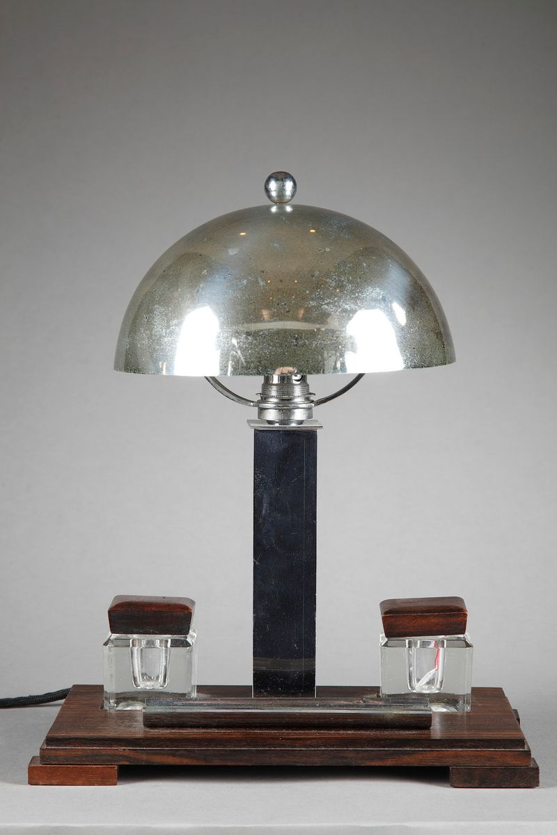 lampe de bureau art d co avec encriers 1930 en vente sur pamono. Black Bedroom Furniture Sets. Home Design Ideas