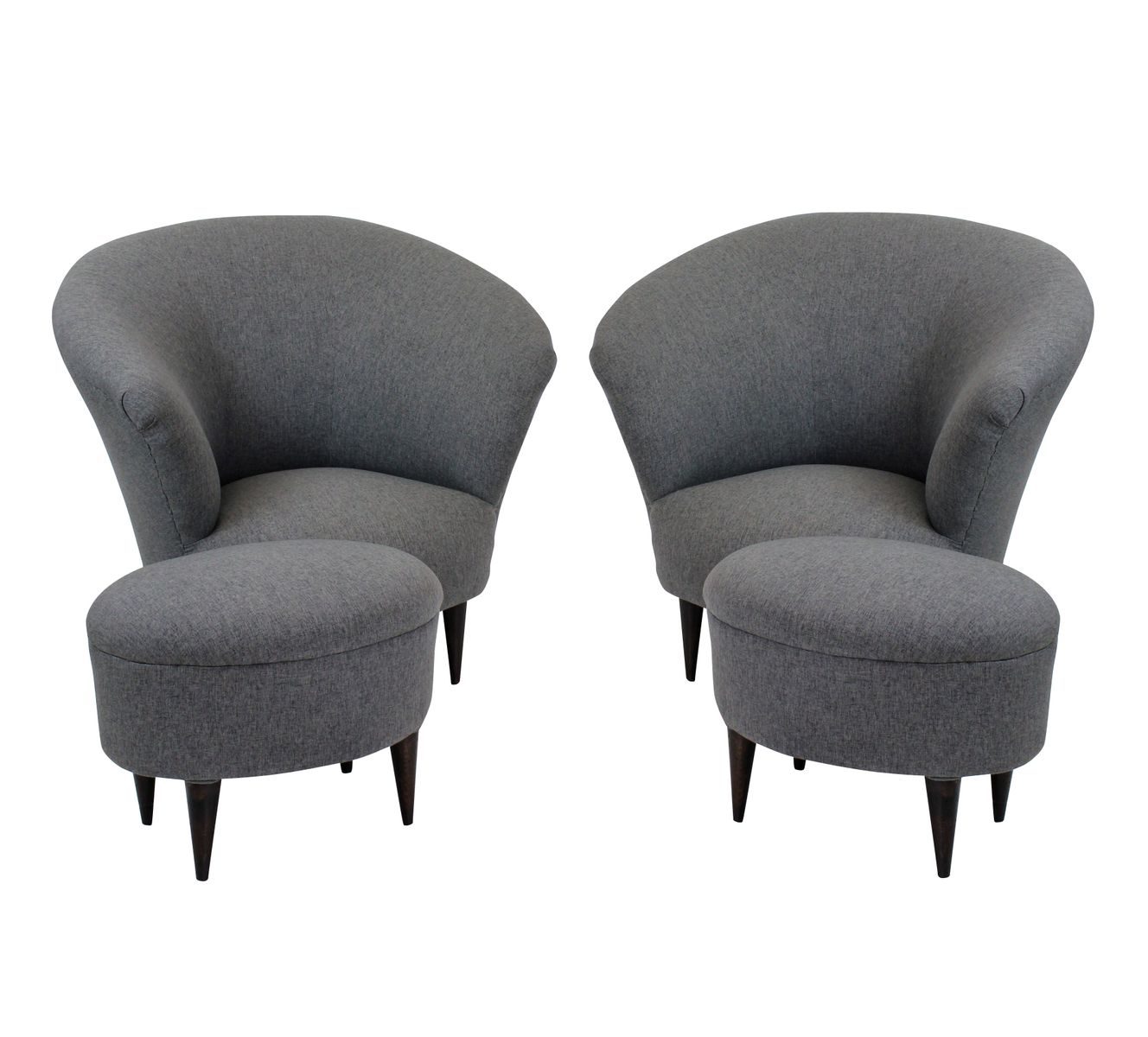 Armchairs U0026 Matching Foot Stools By Ico Parisi, Set Of 2 For Sale At Pamono