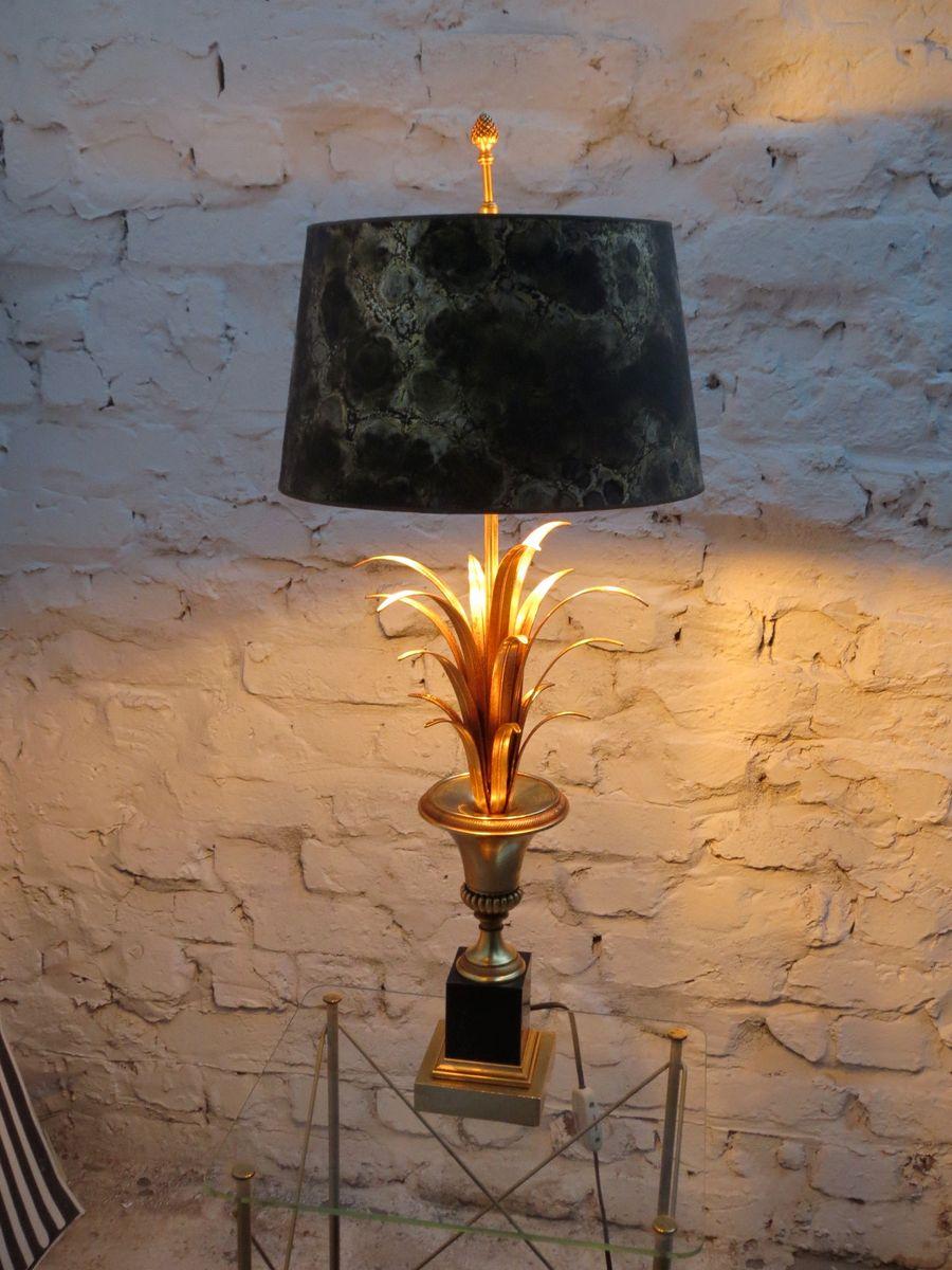 Franz sische vergoldete vintage palmen tischlampe mit for Lampenschirm tischlampe