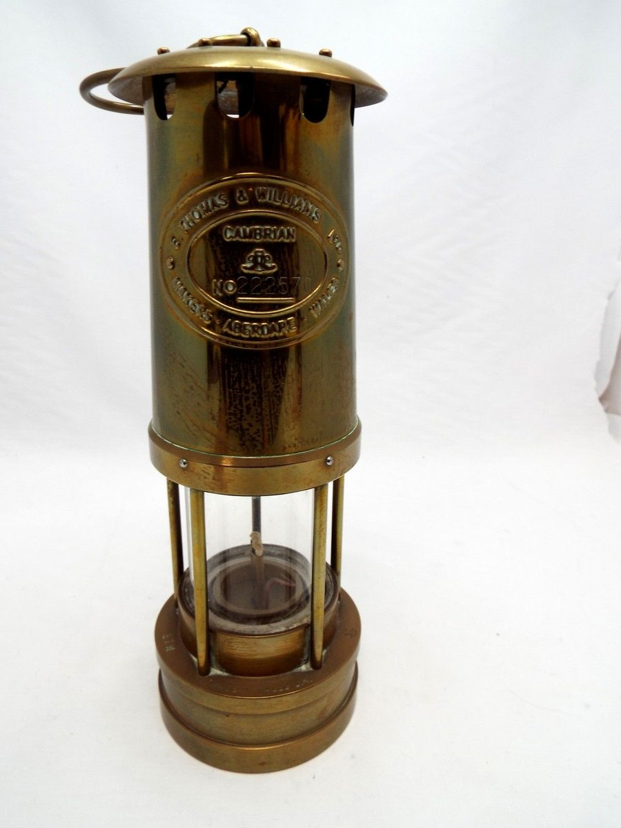 Vintage British Brass Miners Lamp From E Thomas