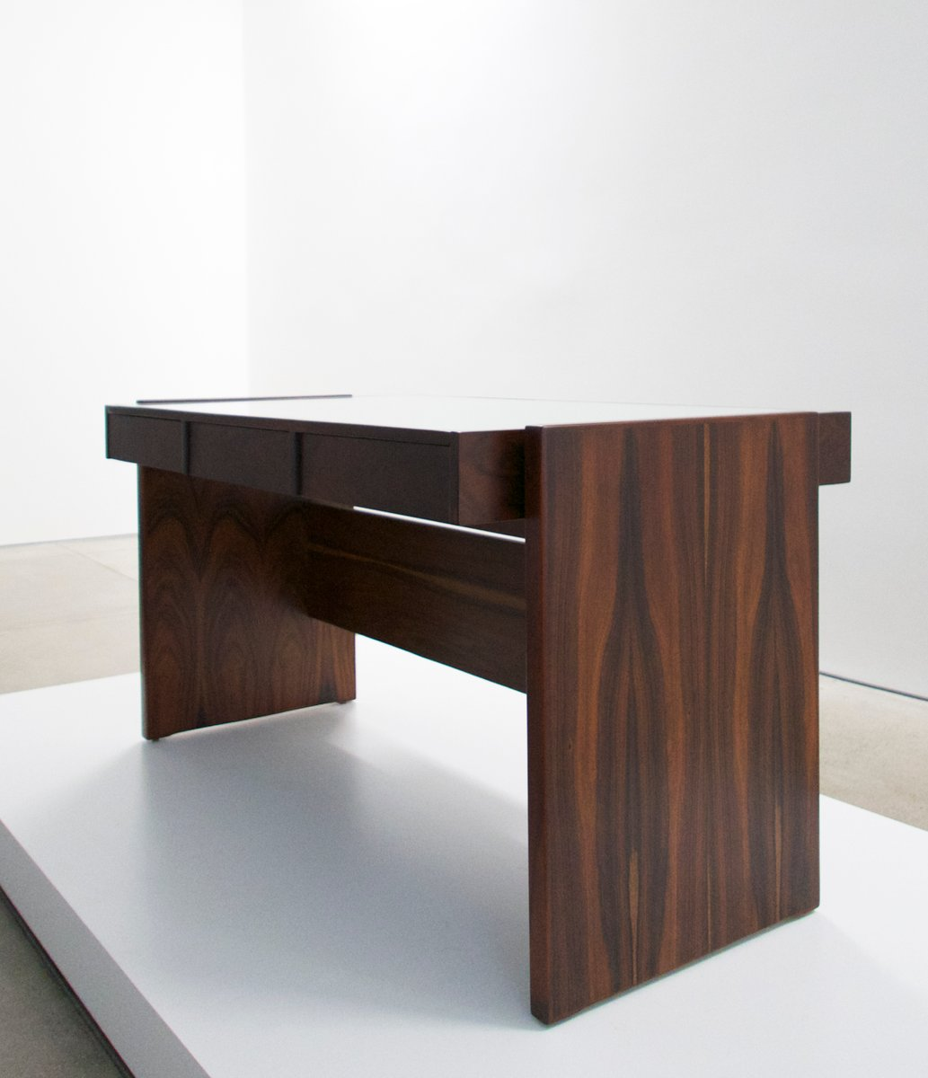 schreibtisch aus palisander mit wei er glasplatte von. Black Bedroom Furniture Sets. Home Design Ideas