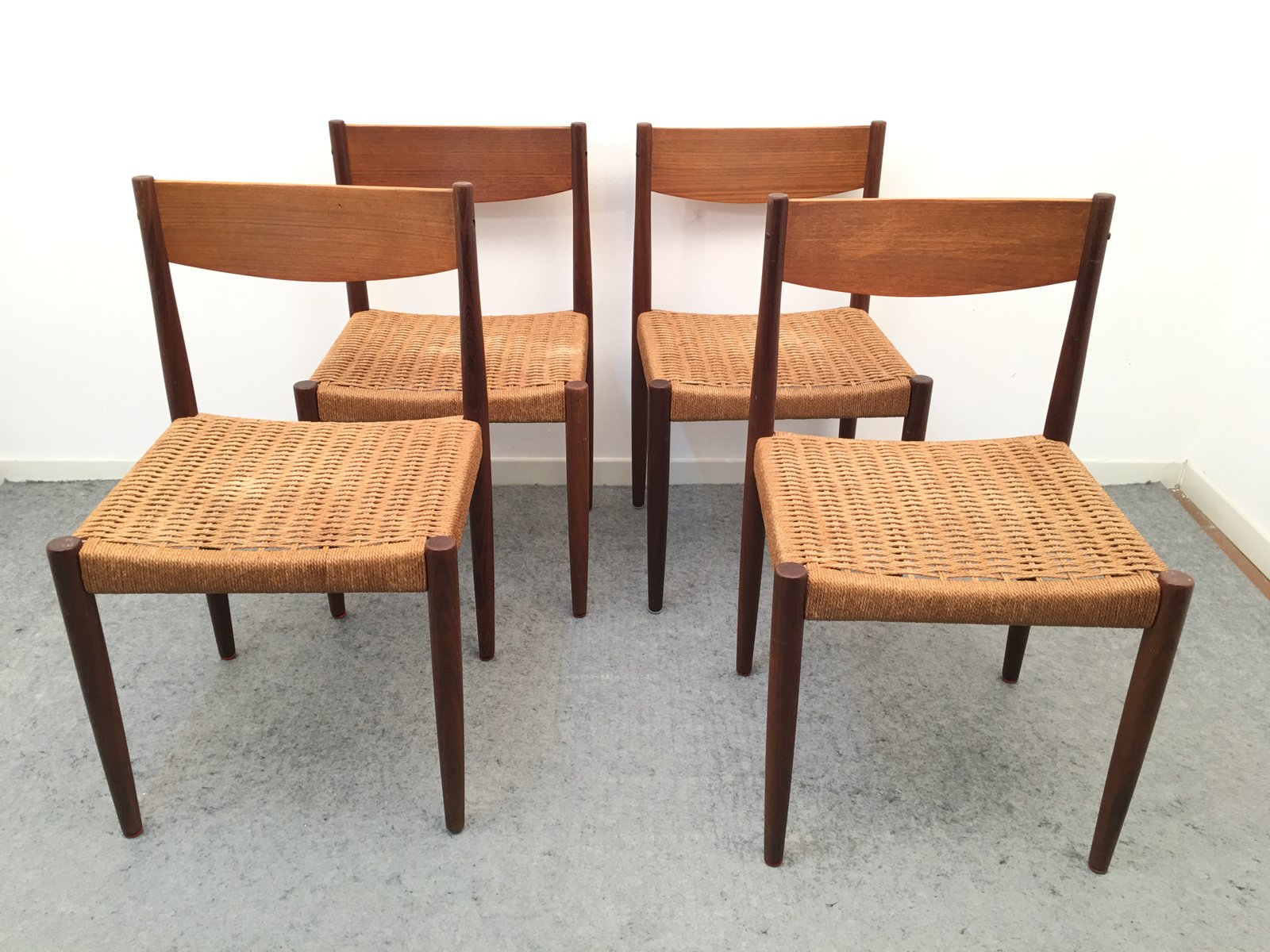 Danish Teak and Paper Cord Chairs by H Sigh & S¸n 1960s Set of
