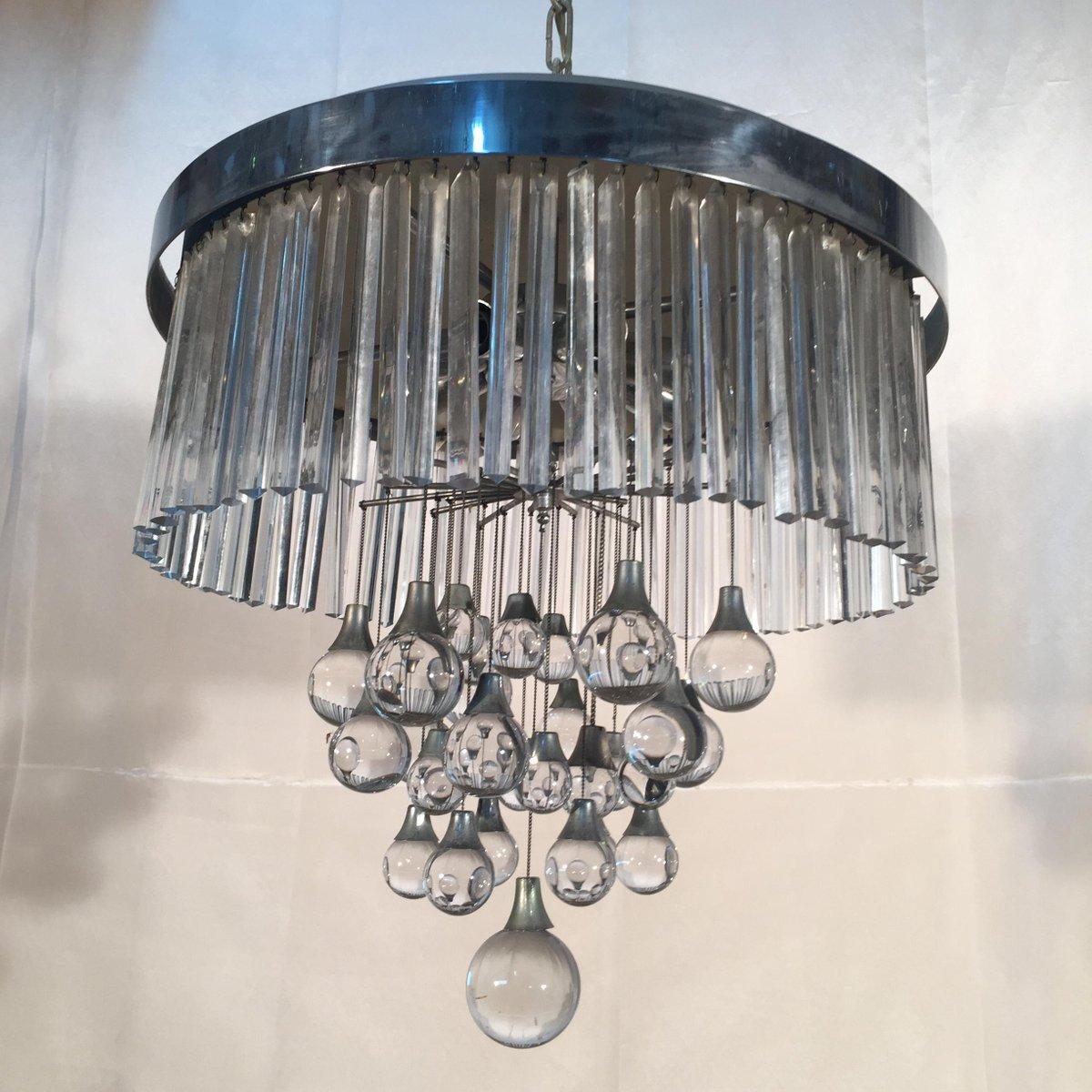 italienischer glas und metall kronleuchter von sciolari. Black Bedroom Furniture Sets. Home Design Ideas