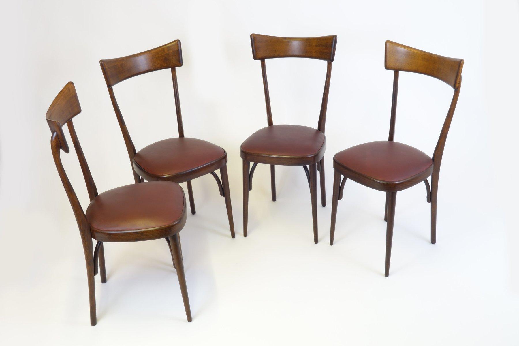 Mid Century Italian Mahogany Dining Chairs, Set Of 4
