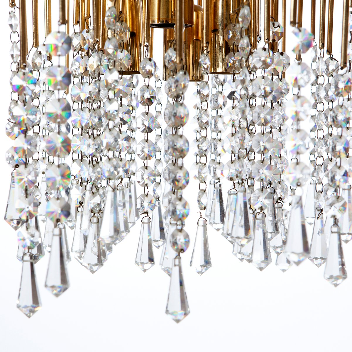 Six light gilt brass and crystal chandelier light 1960s for sale at six light gilt brass and crystal chandelier light 1960s aloadofball Image collections