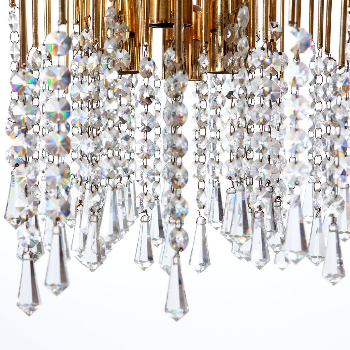 Six light gilt brass and crystal chandelier light 1960s for sale at six light gilt brass and crystal chandelier light 1960s arubaitofo Choice Image