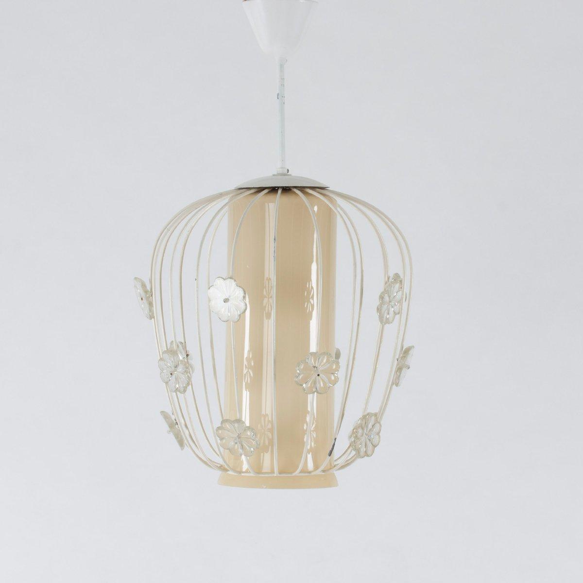 schwedische deckenlampe aus glas lackiertem metall 1950er bei pamono kaufen. Black Bedroom Furniture Sets. Home Design Ideas