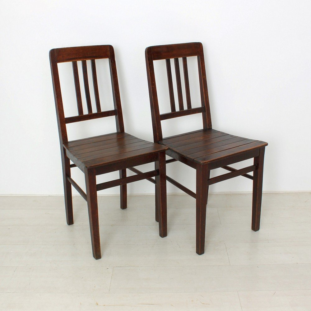Superb Vintage Wooden Chairs, 1920s, Set Of 2 For Sale At Pamono