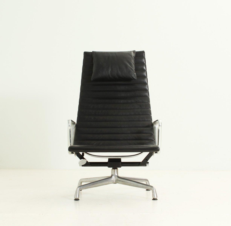 ea124 ledersessel in schwarz von charles ray eames 1960er bei pamono kaufen. Black Bedroom Furniture Sets. Home Design Ideas
