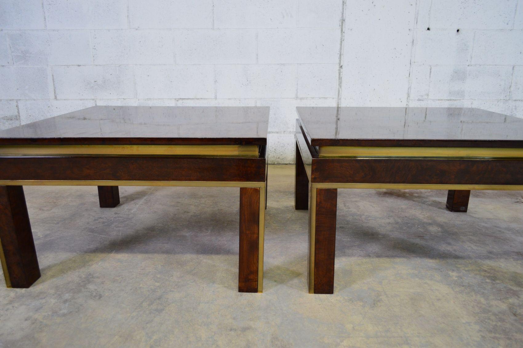 italienischer wurzelholz messing couchtisch 1970er bei pamono kaufen. Black Bedroom Furniture Sets. Home Design Ideas